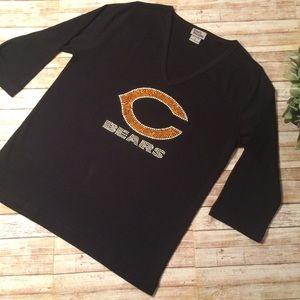 Tops - Chicago Bears Bling V-Neck Tee